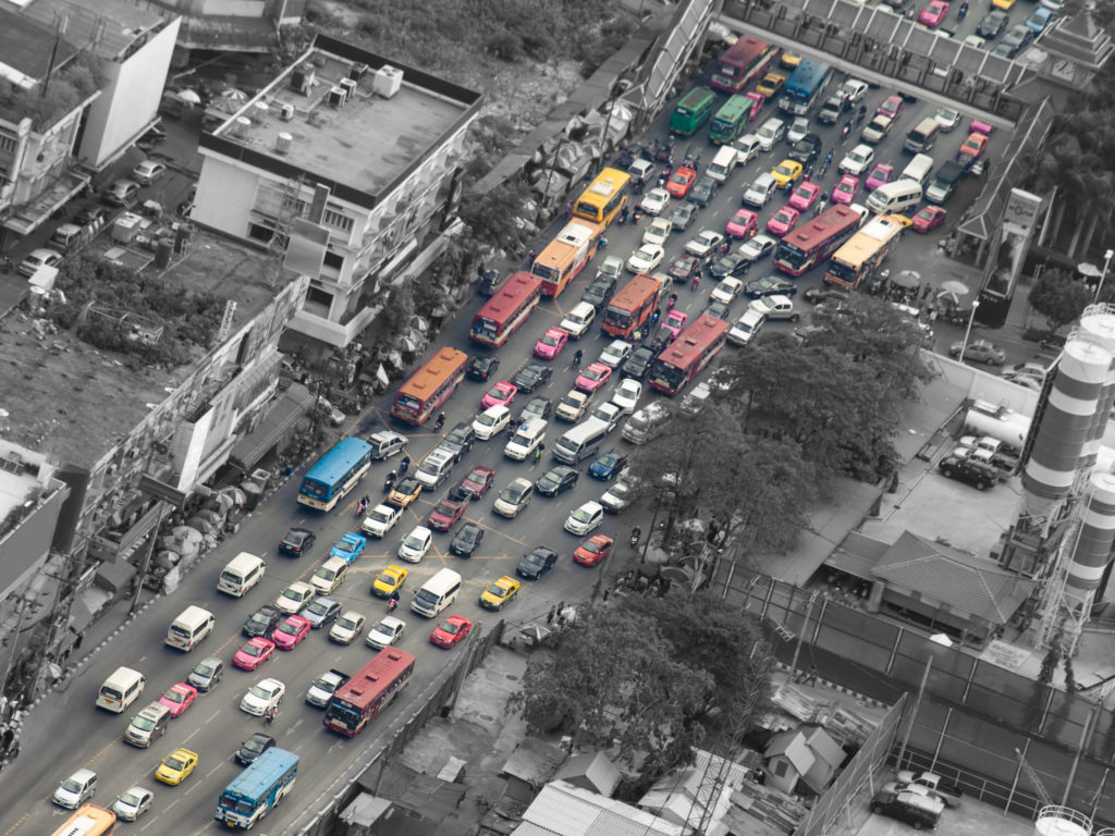 38324111 - traffic jam, bangkok,thailand,asia, for pollution,traffic,city life themes