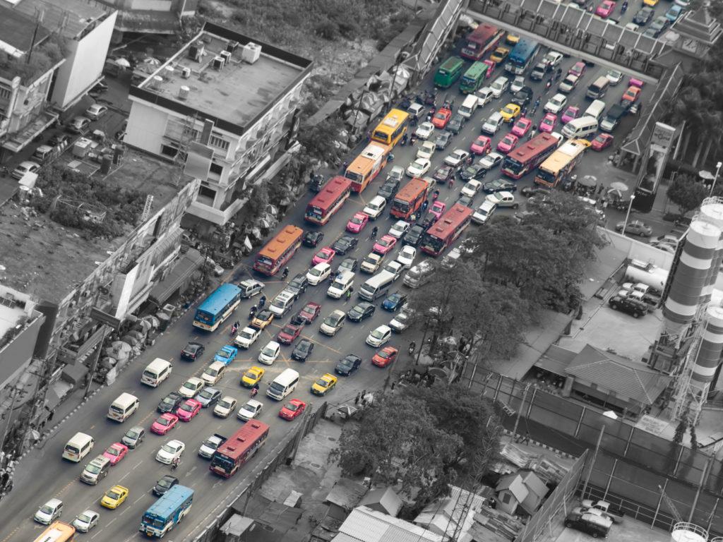 38324111 - traffic jam, bangkok,thailand,asia, for pollution,traffic,city life themes